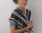 Accessory Clothing Wrap Shawlette Scarf Wool Crochet Brown White Multi Ruffles