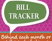 Monthly Bill Tracker for Planner and Notebooks