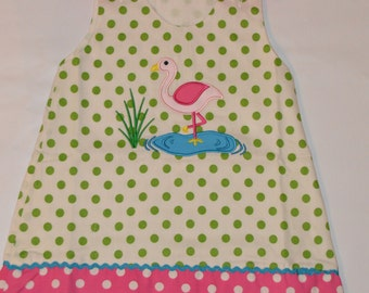 2T Personalized Flamingo Dress Aline Jumper - CLEARANCE