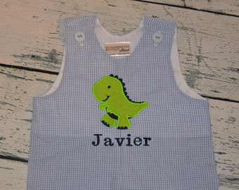 Personalized Dinosaur Shortall JonJon Monogrammed Baby Blue Gingham