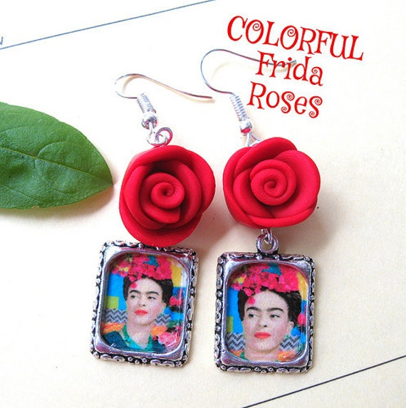 Frida Kahlo altered art earrings red rose mexicana aretes Day of the dead collectible latin hispanic culture Colorful