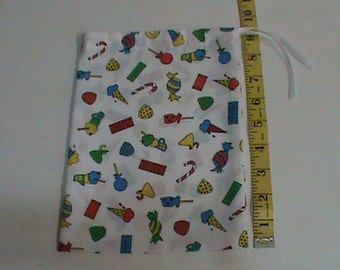 White with Ice Cream Candy and Gum Drawstring Pouch