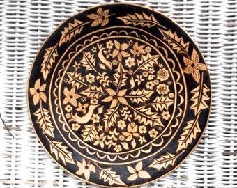 upcycled 8 5/8 inch wood burned weston bowl mill plate-flower bird leaf design-serving-wedding hostess gift