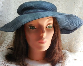 Large Brimmed Hollywood Style Silk Straw in Navy Hat  Bring back the Glamour