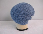 Blue Slouchy Hat. Hand Knit Wool Alpaca Ribbed Beanie. Fall and Winter Accessories.