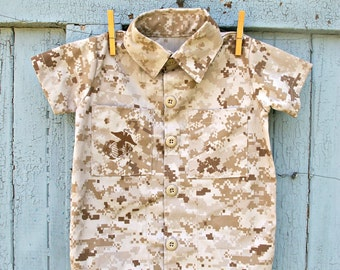 Boys US Marines Military Button Up Top Shirt