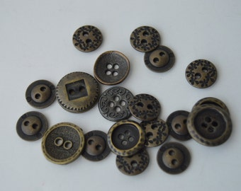 Bronze Metal Buttons - 23 - Various sizes, shapes & styles