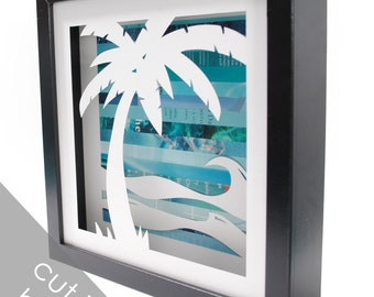 Palm tree shadowbox- made from recycled magazines, beach, summer, waves, blue, teal, sun, beach house, wall decor, decoration, water, fun