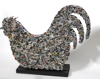 Rooster - made from recycled magazines, paper, kitchen, decoration, modern,gift,bird, wall art, unique, colorful, upcycled, magazines