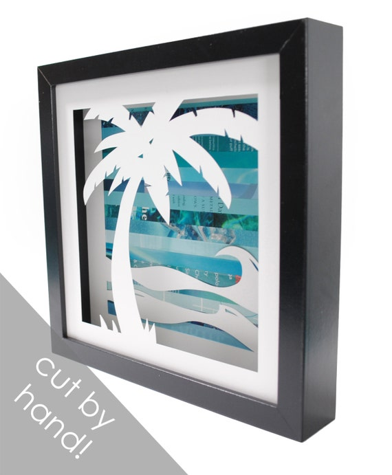 Palm tree shadowbox- made from recycled magazines, beach, summer, waves, blue, teal, sun