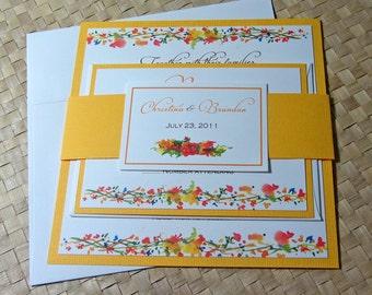 Golden Fall Wedding Invitation, Spring or Summer Wedding Invitation, Square Invitation