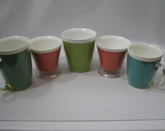 Lot of 5 Vintage Burlap Pastel Raffia Ware Insulated Melmac Cups Mugs