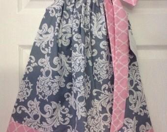 READY TO SHIP - Grey and Pink Damask Pillowcase Dress Size 4