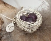 Personalized bird nest necklace with three amethyst eggs and initial charm- silver plated woven wire- Sterling chain- February birthstone