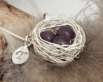 Personalized bird nest necklace with three amethyst eggs and initial charm- silver plated woven wire- February birthstone- crystal healing