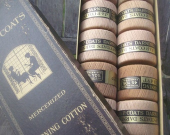 Vintage darning cotton, J&P Coats cotton, boxed cotton spools, mercerized cotton, antique cotton thread, 12 spools of cotton, sewing notions