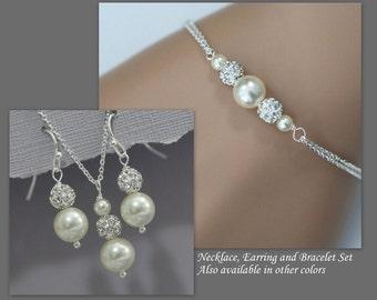 Bridal Jewelry Set, Bridesmaid Jewelry Set, Swarovski Ivory Pearl Necklace, Earring and Bracelet Set, Sterling Silver Wedding Jewelry Set