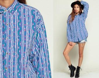 90s Button Up Shirt Preppy 80s Blouse Striped Print Grunge Long Sleeve Top ZIG ZAG Blue Collar Oxford Bohemian 1980s White Vintage Medium