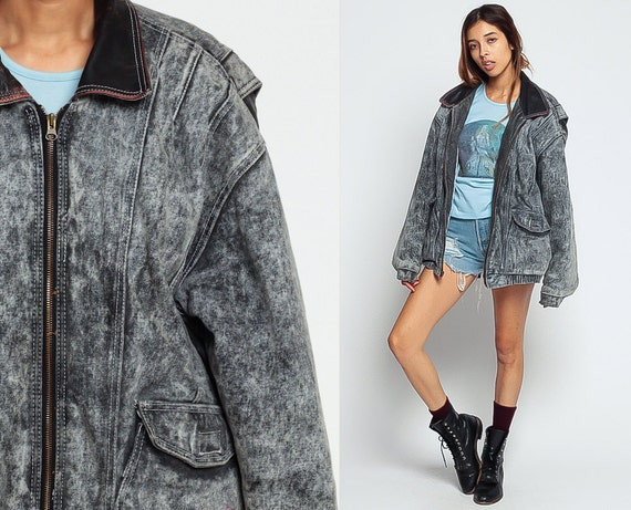 Grunge acid wash denim jacket