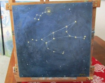 "Ursa Major & Ursa Minor - ""The Bears"" Constellation Painting 12x12 inches"