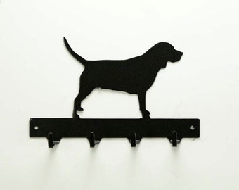 Beagle Dog Metal Art Key or Leash Rack - Free USA Shipping