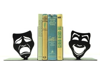 Comedy Tragedy Mask Metal Art Bookends - Free USA Shipping