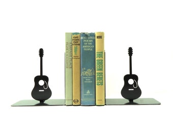 Acoustic Guitar Metal Art Bookends - FREE USA Shipping