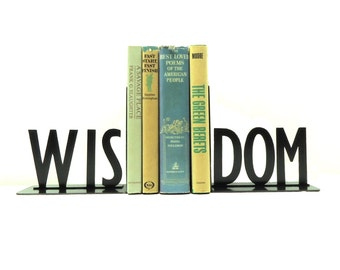 WISDOM Text Metal Art Bookends - Free USA Shipping
