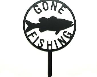 Gone Fishing Metal Art Lawn Garden Sign - Free USA Shipping