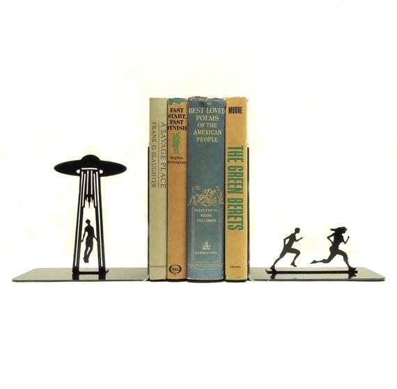 UFO Abduction Metal Art Bookends - Free USA Shipping