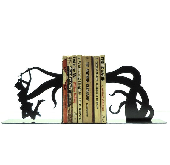 Tentacle Attack Metal Art Bookends - Free USA Shipping