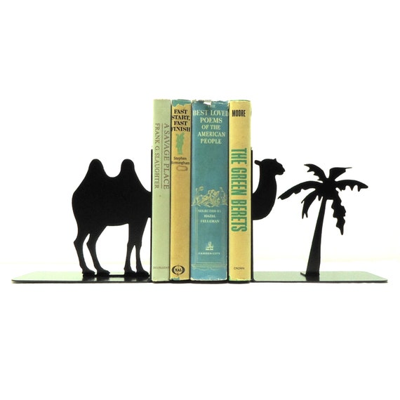 Split Camel Metal Art Bookends - Free USA Shipping