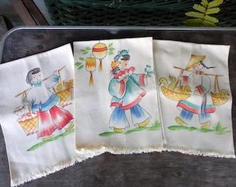 3 Vintage Asian Girl Screen Print Kitchen Towels UNUSED