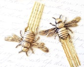 Golden Ox Brass Bumble Bee Hair Comb Set - Bumblebee - Woodland - Nature Wedding Hair - Insect - Fly - Moth - Bee
