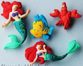 THE LITTLE MERMAID - Disney Ariel Sebastian Flounder Fish Lobster Dress It Up Craft Buttons