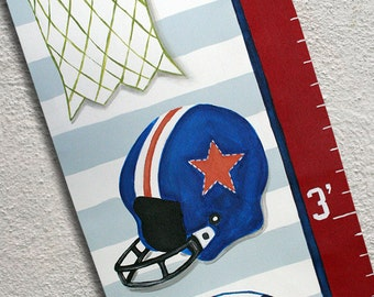 Personalized Canvas Growth Chart Custom All American Sports Balls