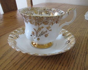 Bone China Tea Cup and Saucer/Royal Albert/Made in England/White with Gold Trim/MOTHER/Fancy Trim and Handle