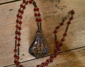 Faceted Carnelian Necklace with Soldered Vintage Crystal