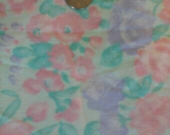 Sale Pink Lavender Teal Floral Print 100% Cotton Fabric 1 yd