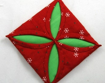 Red  and Green Cathedral Window Quilted Christmas Ornament 104