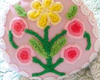 Sample Listing for Custom Ordering Pink Floral Handmade  Round Vintage Chenille Boudoir Pillow 14.5 Inch Diameter