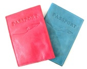 Leather Passport Holder - Leather Passport Cover - in Hot Pink (No.0064)