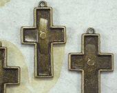 BuLK 20 Cross Bezel Trays Settings Pendant Frames Bronze Tone (P1909 -20)