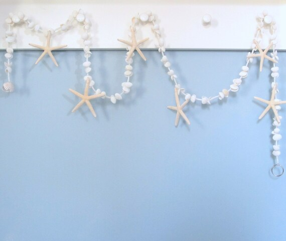 Beach Decor Seashell Garland, Nautical Decor Starfish Garland, White Shell Garland, Coastal Decor, Beach Christmas Garland, 5FT  #WSSFG
