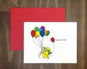 happy birthday simple card / happy day of birth / cute monster with balloons / original fun card for friend / to the point / blank inside