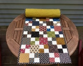 SALE Handmade Quilted Table Runner Civil War Patchwork Buttons and Patches Vintage Quilt