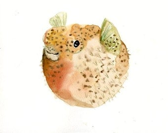 PUFFER FISH Original watercolor painting 10x8inch