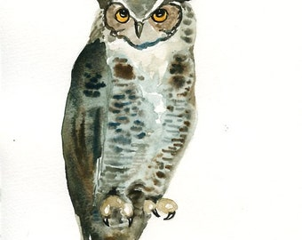 GREAT OWL Original watercolor painting 8x10inch(Vertical orientation)