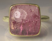Pink Tourmaline Ring - 14k Gold and 18k Gold