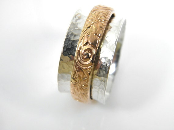 gold silver worry ring motion ring hammered sterling silver